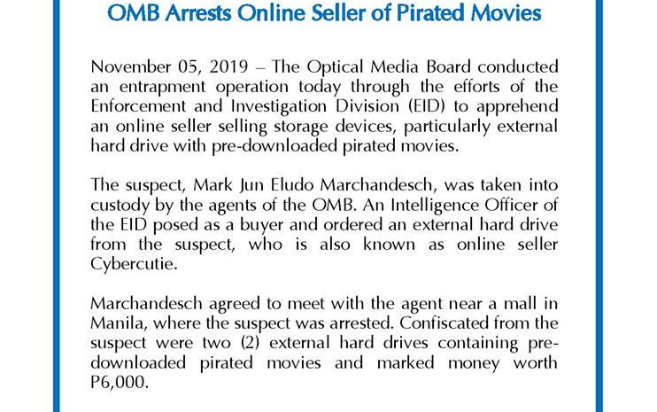 OMB Arrests Online Seller of Pirated Movies
